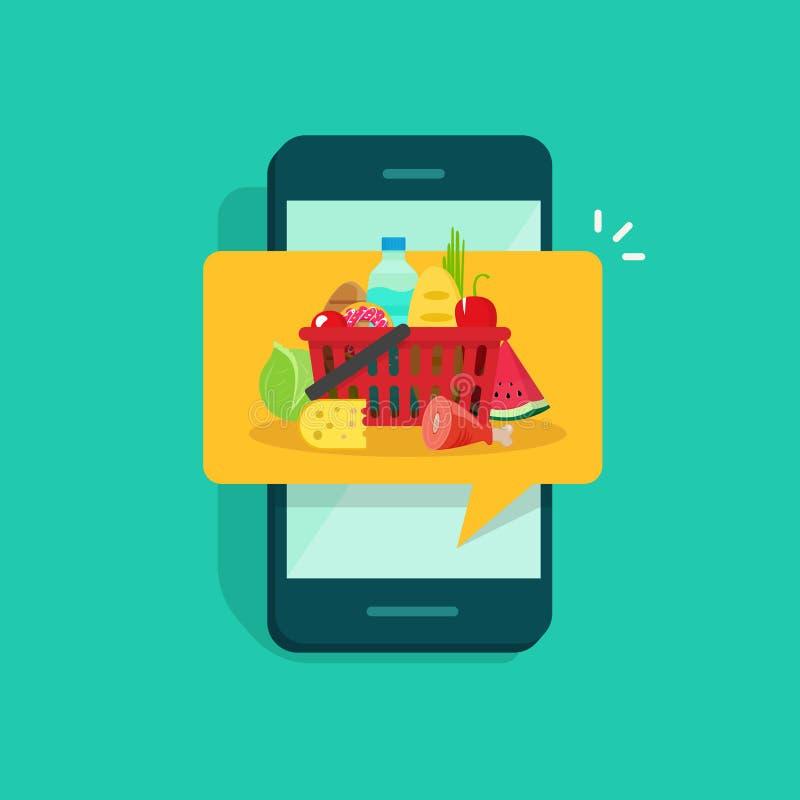 Commande ou service de distribution de nourriture sur la conception plate d'illustration de vecteur de téléphone portable, concep illustration libre de droits