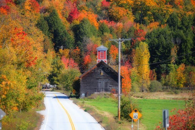 Commande scénique à travers le feuillage d'automne de la Nouvelle Angleterre images libres de droits