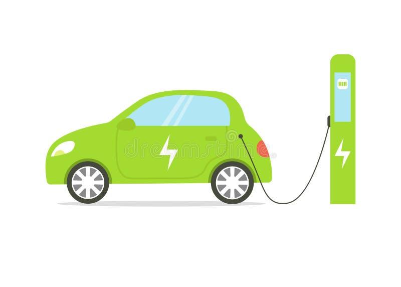 Commande solaire de voiture sur la station de charge illustration libre de droits