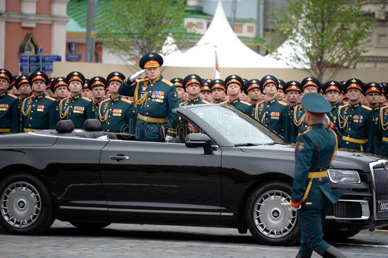 Commander-in-chief of the Land forces of the Russian Federation army General Oleg Salyukov on the car `Aurus`. MOSCOW, RUSSIA - MAY 9, 2019:Commander-in-chief of royalty free stock images