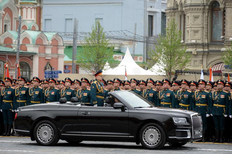 Commander-in-chief of the Land forces of the Russian Federation army General Oleg Salyukov on the car `Aurus`. MOSCOW, RUSSIA - MAY 9, 2019:Commander-in-chief of royalty free stock photos
