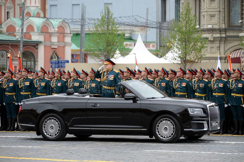 Commander-in-chief of the Land forces of the Russian Federation army General Oleg Salyukov on the car `Aurus`. MOSCOW, RUSSIA - MAY 9, 2019:Commander-in-chief of royalty free stock photography