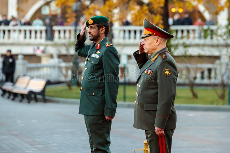 The commander of the Ground Forces of the United Arab Emirates, Major General Saleh Al-Amy and the Commander-in-Chief of the Land. MOSCOW, RUSSIA - NOVEMBER 08 royalty free stock photos