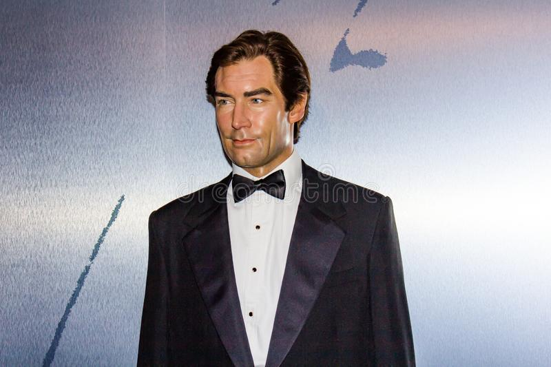 Timothy Dalton- James Bond wax statue, Madame Tussaud`s Museum Vienna. Commander James Bond, CMG, RNVR, is a fictional character created by the British stock image