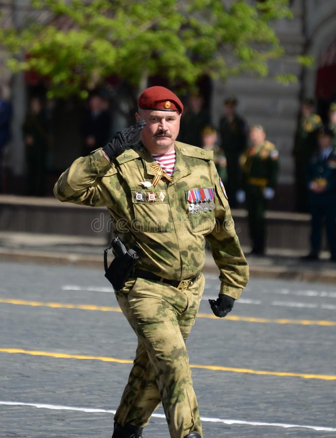 The commander of a separate guards motorized rifle brigade, Lieutenant Colonel Alexander Protsenko during the parade on red square.