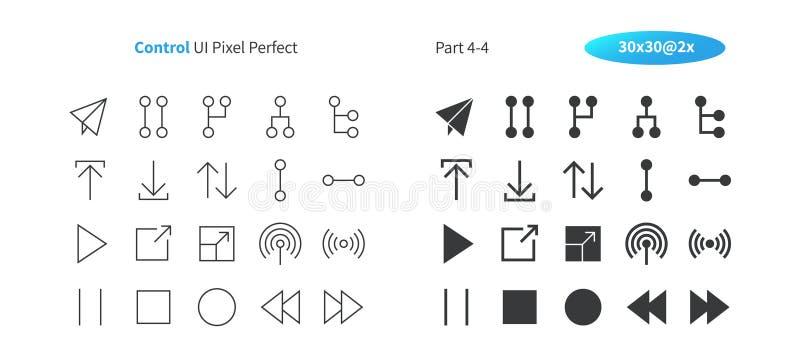Commandez le pixel d'UI le vecteur Bien-ouvré que parfait rayent légèrement et la grille 2x solide des icônes 30 pour des graphiq illustration stock
