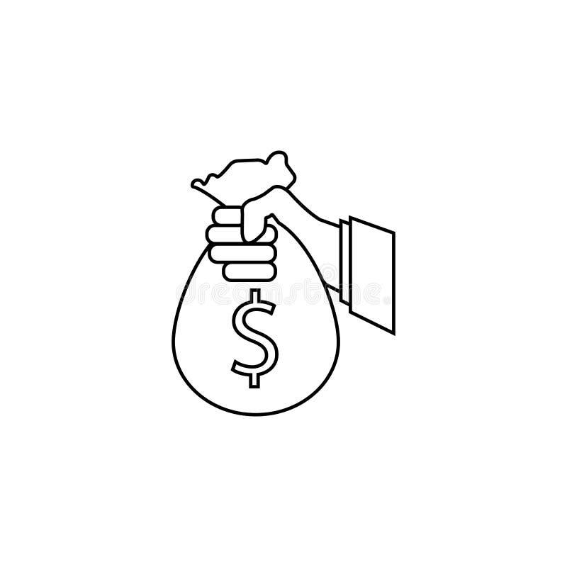 Commanditez la ligne icône d'investissement, tenant le sac d'argent illustration stock
