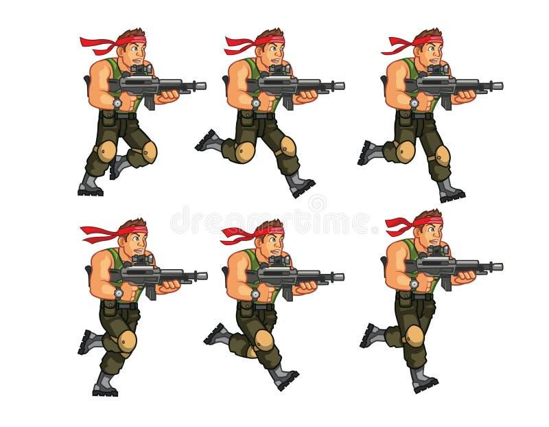 Commando Lopend Spel Sprite stock illustratie