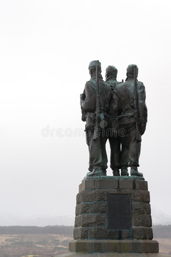 Commandos. Memorial to commandos (world war II elite soldiers), just outside Spean Bridge in the scottish Highlands, which was their training ground stock images