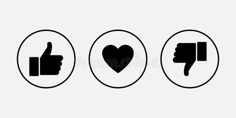 Comme des graphismes Pouce en haut et en bas avec le coeur, icônes de vecteur illustration libre de droits