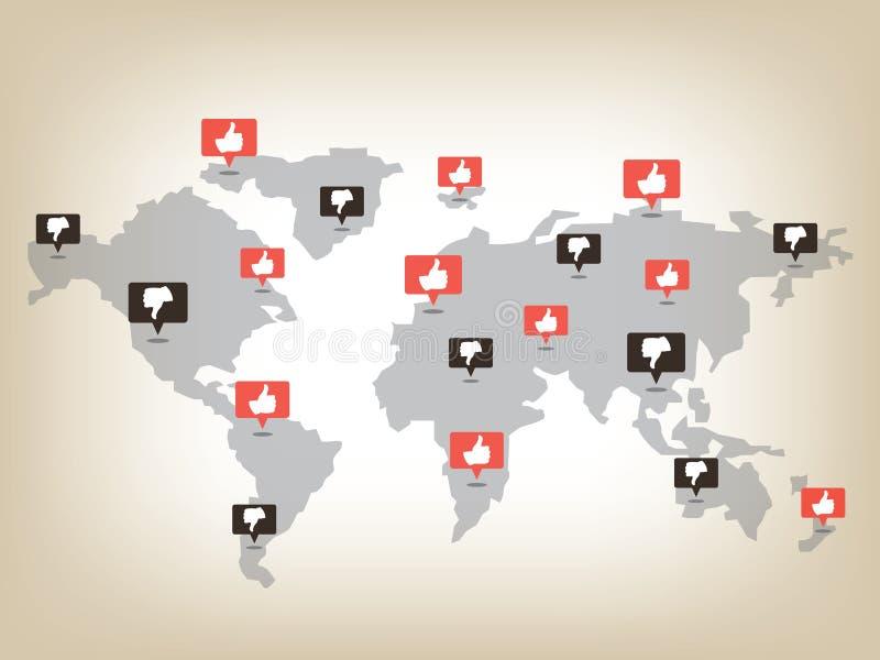 Comme et d'aversion carte du monde illustration de vecteur