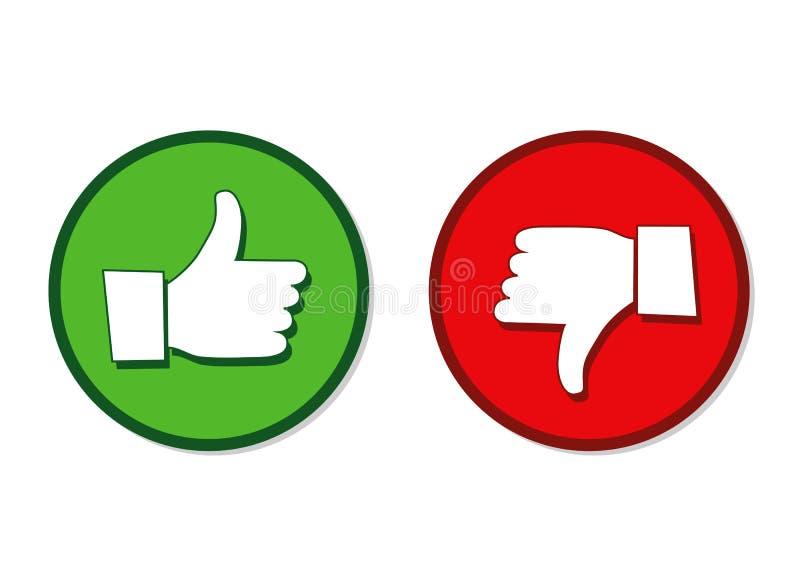 Comme et d'aversion les mains marquent le vert et le rouge illustration de vecteur