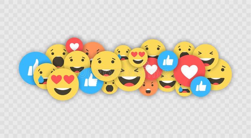 Comme et de coeur et d'emoji icônes Vidéo vivante de courant, causerie, goûts, emoji Réactions compréhensives d'Emoji Filets soci illustration libre de droits