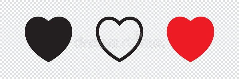 Comme et de coeur icône Vidéo vivante de courant, causerie, goûts Filets sociaux comme les boutons rouges de Web de coeur Rose ro illustration stock
