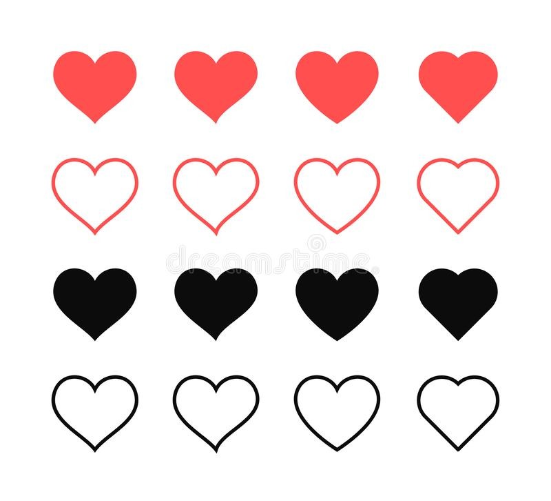 Comme et de coeur ic?ne Vid?o vivante de courant, causerie, go?ts Filets sociaux comme les boutons rouges de Web de coeur d'isole illustration libre de droits