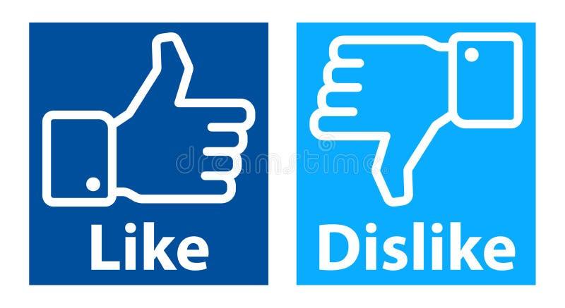Comme l'aversion remet le logo de facebook illustration libre de droits