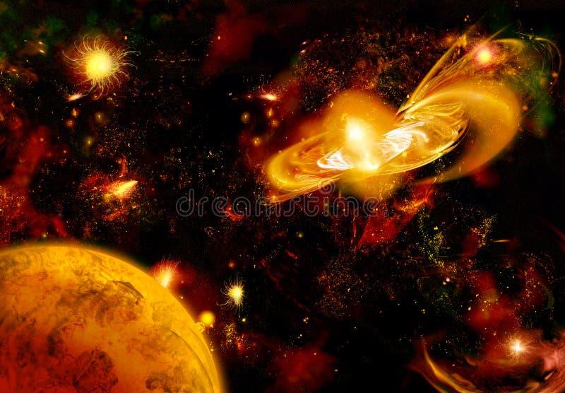 comme l'espace de Saturne de nébuleuse de regard illustration de vecteur