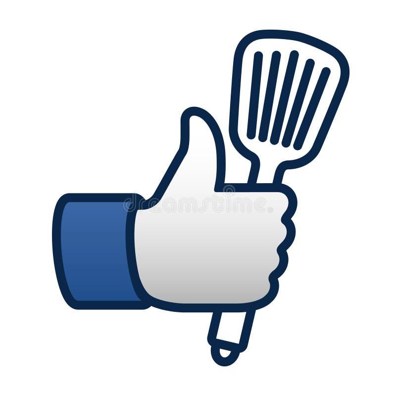 Comme la cuisson, les pouces lèvent l'icône de symbole avec la spatule illustration libre de droits