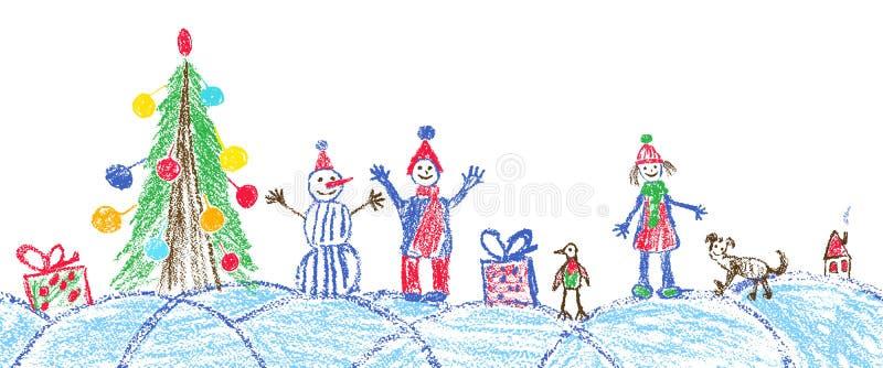 Comme la plaza de dessin de l'espace de Noël de main d'enfant illustration libre de droits