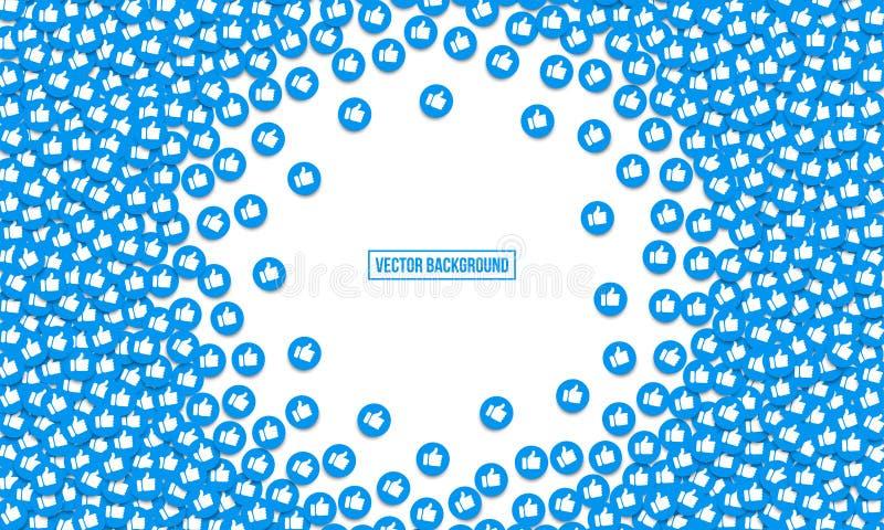 Comme le pouce vers le haut du fond de vecteur d'icônes Le bleu social de filets aime des boutons de Web de doigts illustration stock