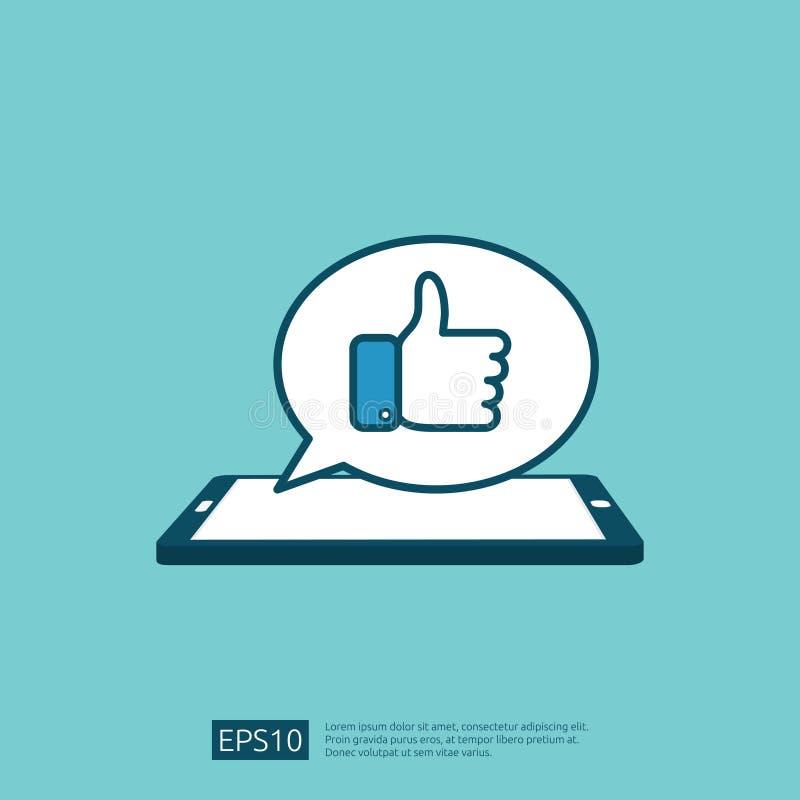 comme le symbole de message de bulle sur des médias d'écran de téléphone pouces de main vers le haut d'icône de logo de bouton Co illustration de vecteur
