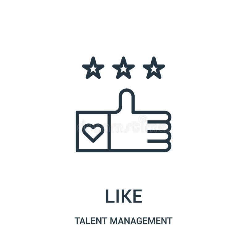 comme le vecteur d'icône de la collection de gestion de talent Ligne mince comme l'illustration de vecteur d'ic?ne d'ensemble illustration libre de droits