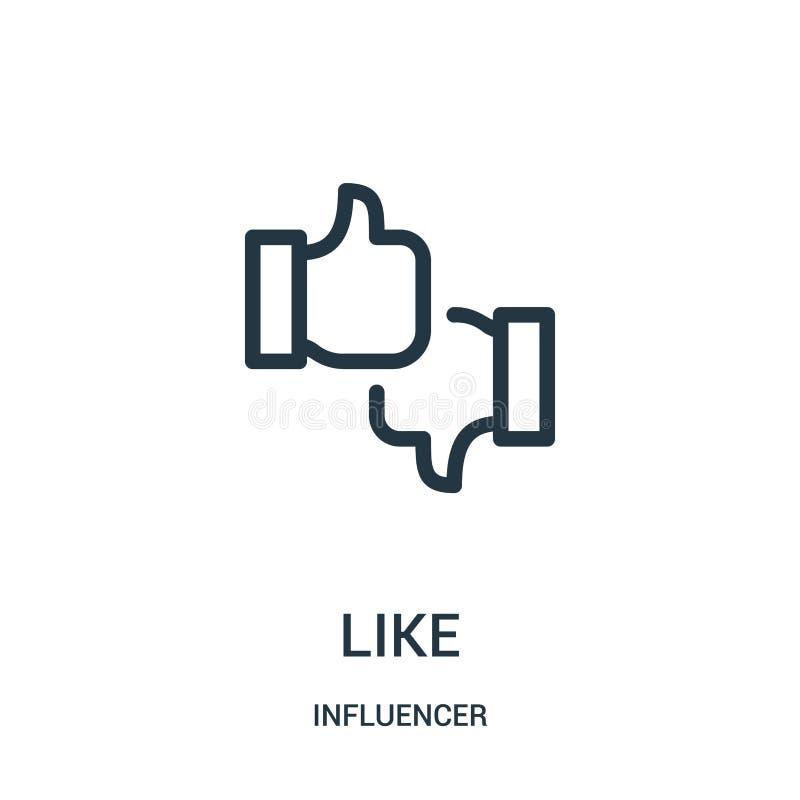 comme le vecteur d'icône de la collection d'influencer Ligne mince comme l'illustration de vecteur d'icône d'ensemble illustration stock