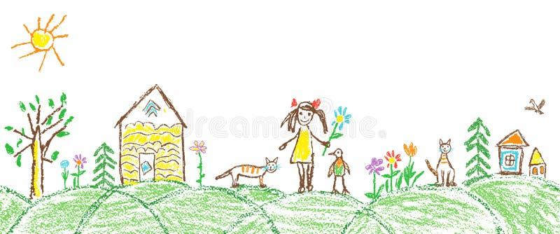 Comme le village de dessin de jardin d'été de main d'enfant illustration libre de droits