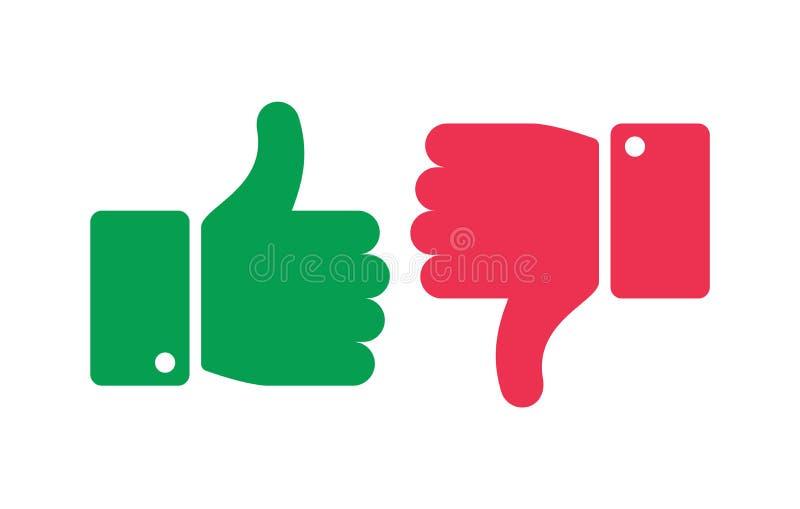 Comme les boutons différents Pouces à travers les icônes d'isolement Oui et aucun doigts, les marques négatives positives dirigen illustration libre de droits