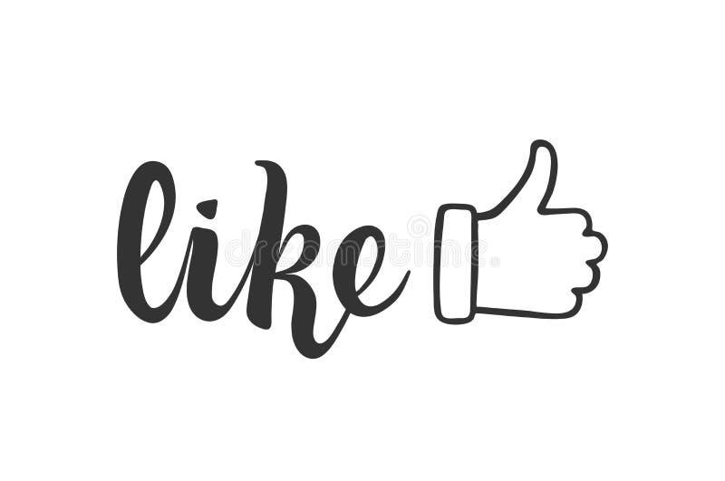 comme marquer avec des lettres pour des médias sociaux et bloguer Pouces vers le haut SMM et mise en réseau doigt illustration libre de droits