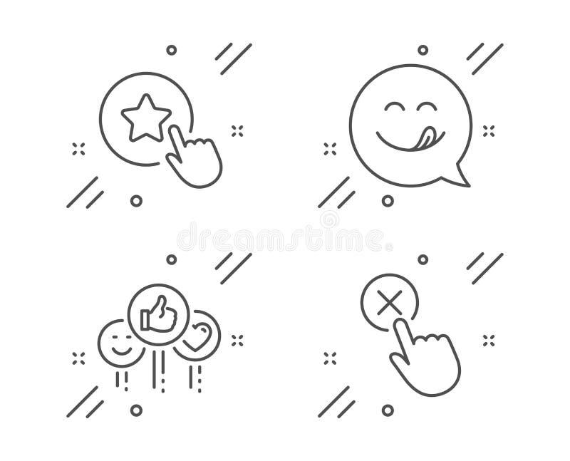 Comme, sourire délicieux et ensemble d'icônes d'étoile de fidélité Signe de clic de rejet Goûts sociaux de médias, émoticône, réc illustration libre de droits