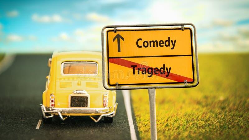 Commedia del segnale stradale contro la tragedia fotografia stock
