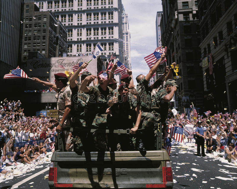 Commemorating the Desert Storm Victory Parade. This is a Ticker Tape Parade commemorating the Desert Storm Victory Parade. It is located in the Canyon of Heroes stock image