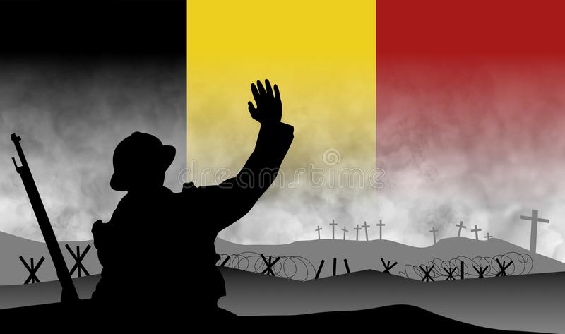 Commemoration of the centenary of the great war, Belgium vector illustration