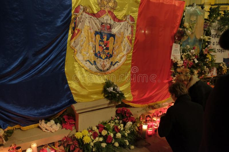 Commemoration of King Mihai at the Royal Palace in Bucharest, Romania stock images