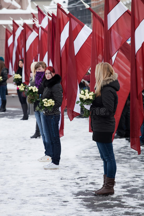 Commemoration of the Latvian Waffen SS unit or Leg stock image