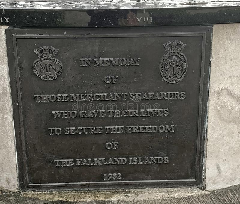 Commemoration Plaque of the seafarers who lost their lives in the Falkland War of 1983 royalty free stock photo