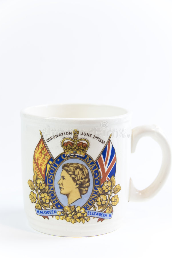 Commemorative coronation mug. Coronation mug for queen elizabeth june 22nd 1953 royalty free stock photo