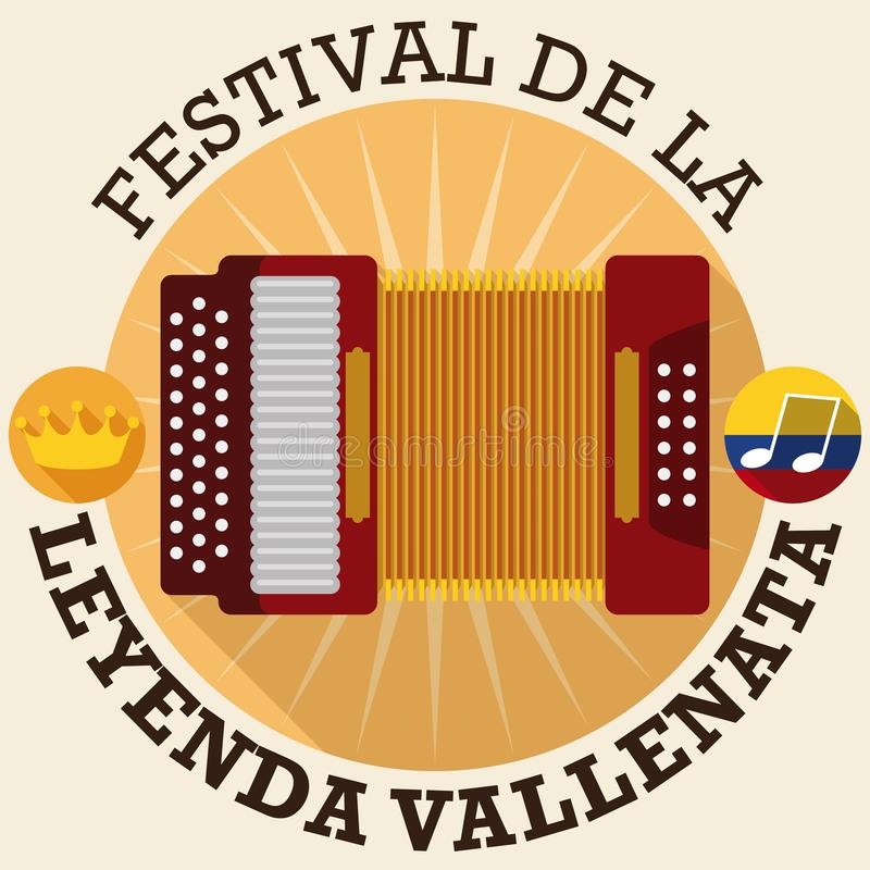 Buttons with Accordion, Crown and Flag for Vallenato Legend Festival, Vector Illustration. Commemorative design in flat style and long shadow with round buttons royalty free illustration