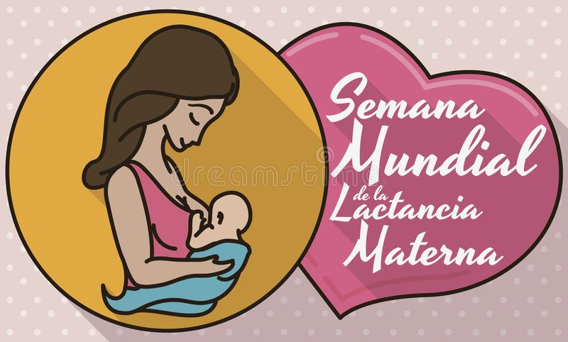 Medal and Heart with Mom and Baby for Breastfeeding Week, Vector Illustration. Commemorative design in flat style, outline and long shadow with medal, mom and vector illustration