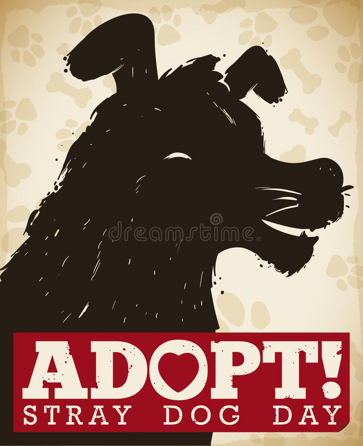 Commemorative Design Promoting Dogs Adoption during Stray Dog Day Celebration, Vector Illustration. Commemorative poster with dog head silhouette and awareness stock illustration