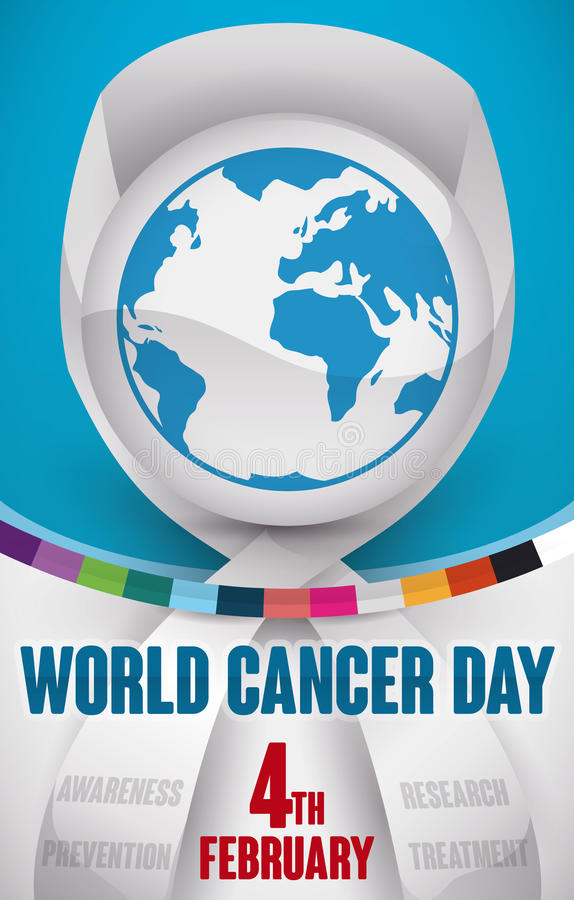 Commemorative Design with Ribbon and Colors for World Cancer Day, Vector Illustration royalty free illustration