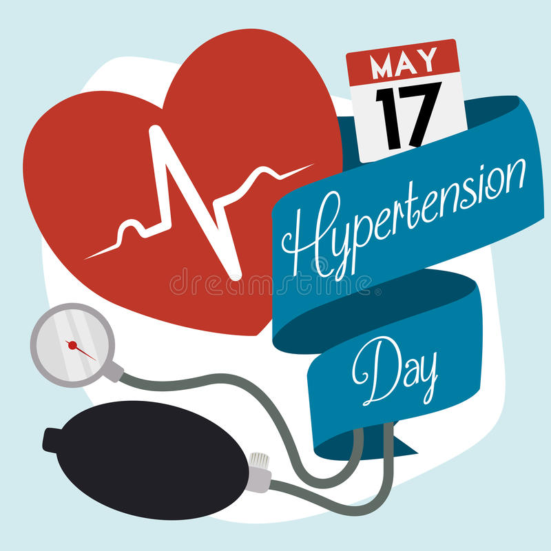 Commemorative Medical Elements for World Hypertension Day. Red heart with heartbeat inside, manometer and inflation bulb of a sphygmomanometer with a vector illustration