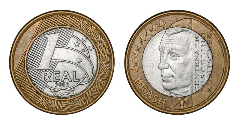 Commemorative `One Real` brazilian coin Centenary Juscelino Kubitschek. Isolated on white background with clipping path stock photography