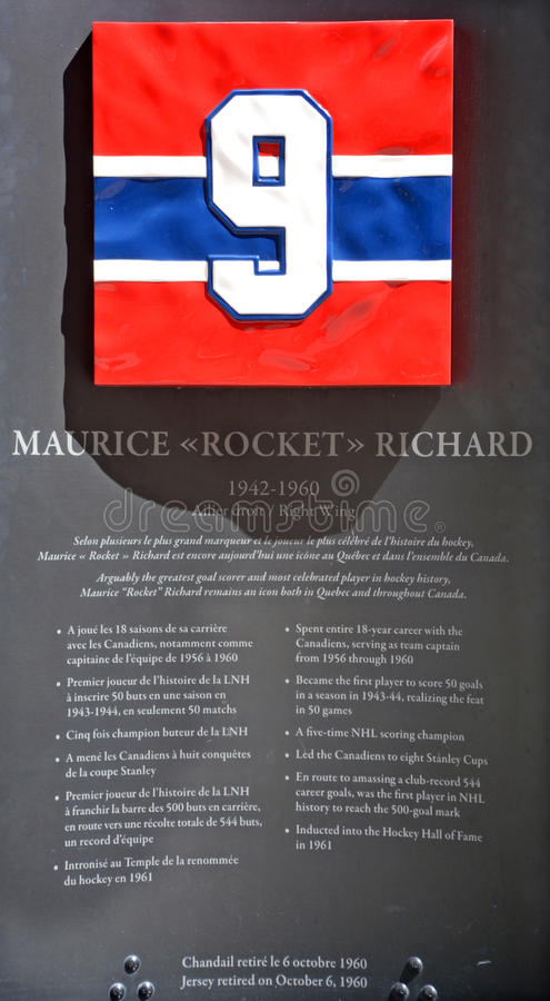 Commemorative plate 9 of Maurice Rocket Richard royalty free stock photography