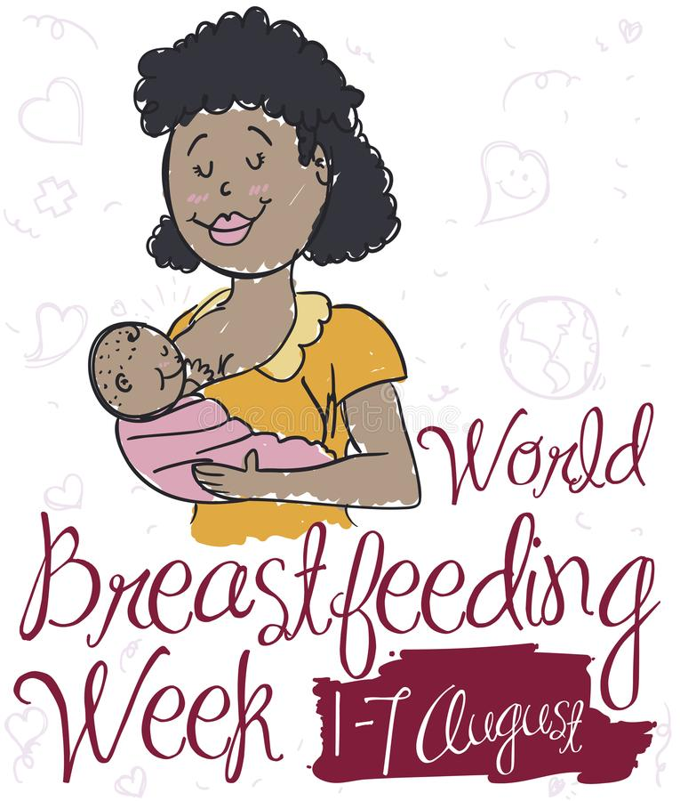 Brunette Mom with Baby for World Breastfeeding Week with Doodles, Vector Illustration. Commemorative poster with smiling brunette mom breastfeeding her baby in vector illustration