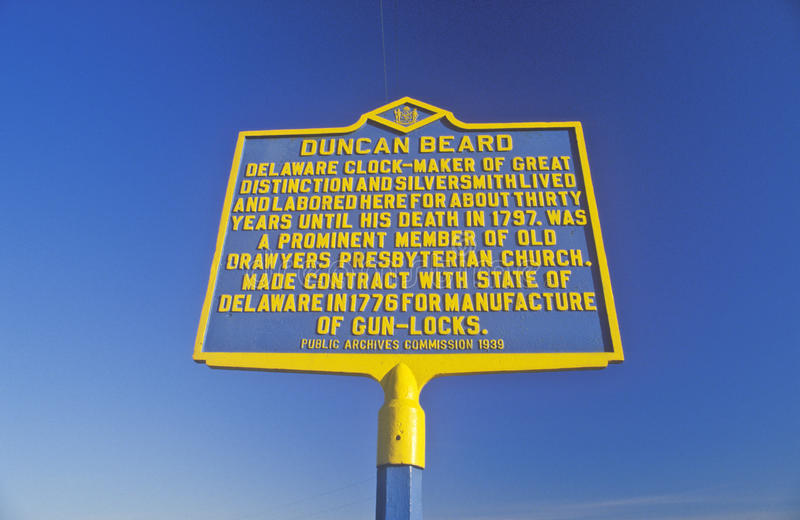 Commemorative sign for the Scottish immigrant clockmaker Duncan Beard, Delaware royalty free stock photo