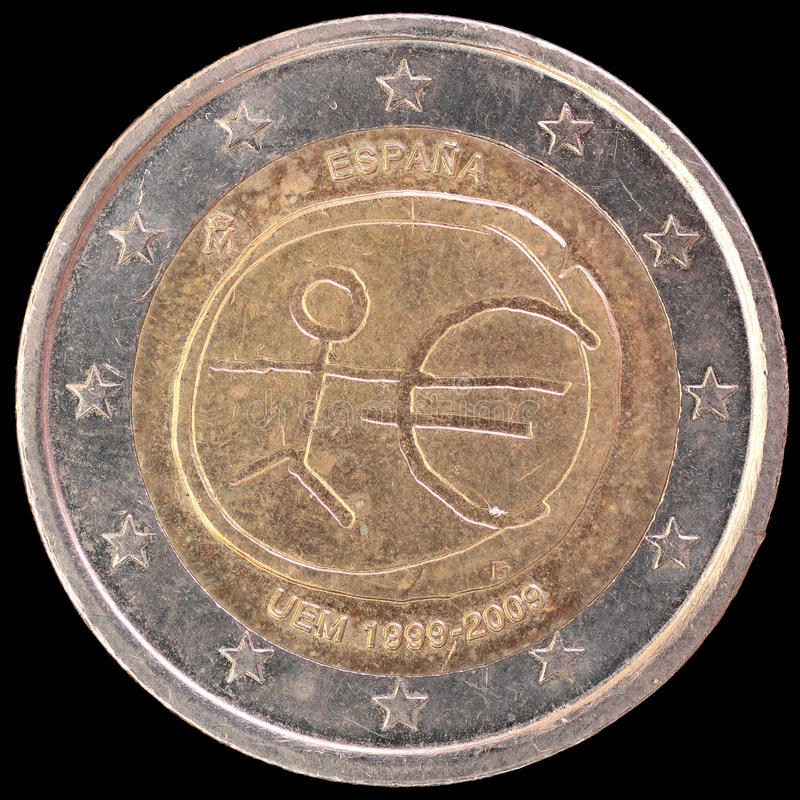 Commemorative two euro coin issued by Spain in 2009 for the anniversary of Economic and Monetary Union stock images
