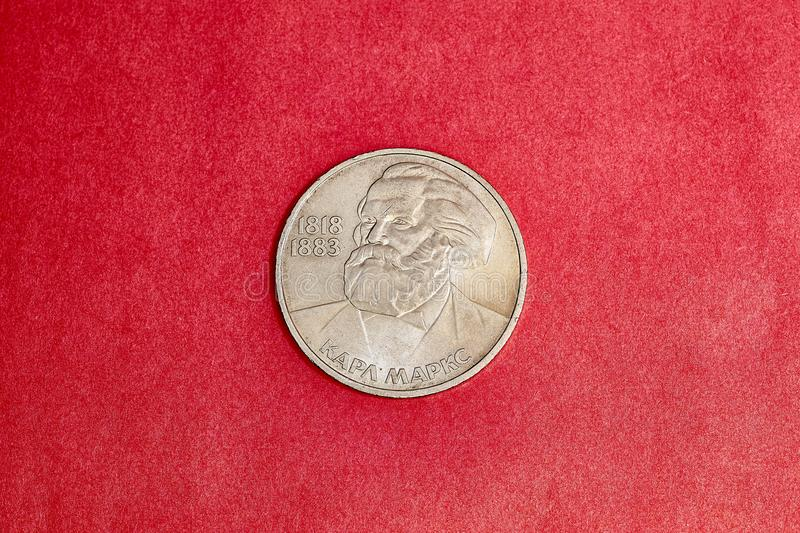 Commemorative USSR coin one ruble dedicated to Karl Marx stock photo