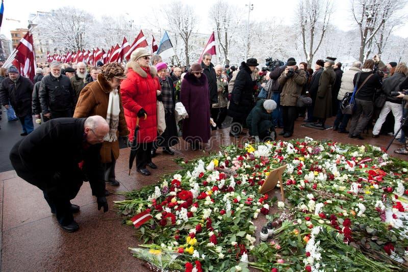Commemorazione dell'unità o del piedino lettone di Waffen ss immagini stock